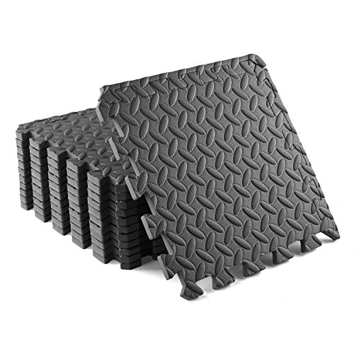 Yes4All Interlocking Exercise Foam Mats with Border – Interlocking Floor Mats for Gym Equipment – Eva Interlocking Floor Tiles (Gray)