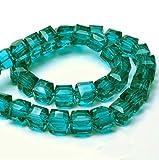 Perlas de Cristal Bohemias, 4 mm y 6 mm, Juego de Cubos facetados, Perlas checas de Cristal Tallado Entre Perlas, Perlas de Cristal Impresas, Cristal, Circonita Verde, 4x4x4 mm 25 Stück
