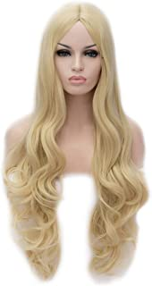 Flovex Women Long Wavy Cosplay Wigs Ladies Sexy Natural Costume Club Party Daily Hair with Wig Cap (Blonde)