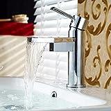 LMK Grifo, salida de cascada de cobre moderno en forma de abanico, válvula de cerámica de agua fría y caliente, un solo orificio, una manija, grifo de lavabo para baño