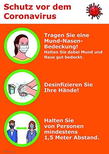 Corona-Schutzmaßnahmen, Mund-Nasen-Bedeckung, Hände desinfizieren, Abstand halten, Coronamaßnahmen, DIN A3, laminiert, Aushang Corona, Hygieneregeln