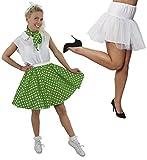 Disfraz de lunares para mujer, falda corta de lunares verdes con bufanda a juego y falda blanca (verde con lunares blancos y bajo falda blanca – 38 – 40)