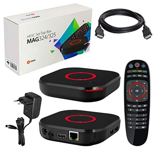 mag 324 Original Infomir y HB-DIGITAL IPTV Kit Top Box Reproductor Multimedia Internet TV Receptor IP (Compatible con HEVC H.256) + Cable HDMI