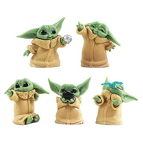 BESTZY Baby Yoda Spielzeug 5 Stück/Set Baby Yoda Serie Actionfigur Spielzeug Stars Wars Das mandalorianische Doll Das Kind Sammlerpuppe Yoda Action Model Büro Ornament Kinder