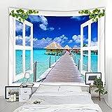 Tapiz de decoración de paisaje de ventana 3D tapiz nórdico...