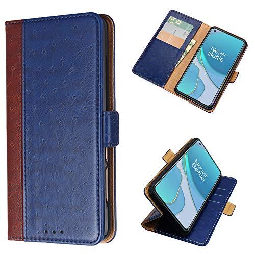 PaceBid Funda Compatible con Oneplus 9, Premium PU Cuero Flip Carcasa con Función de Soporte, [ Ranura para Tarjeta & Compartimento Lateral ] [ Cierre Magnético ] Fundas de Tapa Libro- Blue
