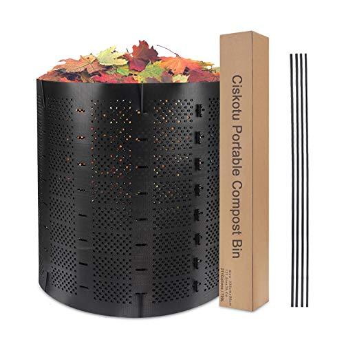 Ciskotu Komposter Garten 800L, Schnellkomposter Erweiterbarer Komposter im Freien, Schwarzer Komposteimer mit 4 Stützstange, HDPE Langlebiges Material