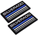 Aimoll 2pcs Cab Emblem Badge Side Roof Pillar Decal Plate for Chevy Silverado 88-98 90 91 Suburban Tahoe (Blue Line)