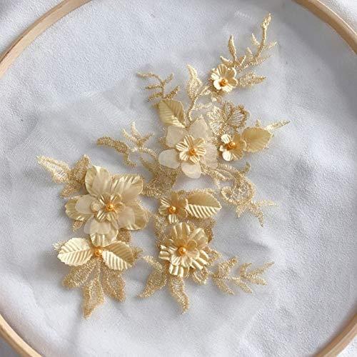 HUIJUNWENTI 1PCS Farben der Blumen-3D SpitzeApplique Perlen Bestickt-Material Trim for DIY Brautkleid Schleier Zubehör (Color : Gold)