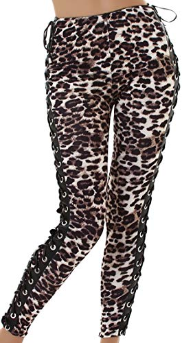 Jela London Damen Kunstleder Hose Stretch Wetlook Leggings Treggings Clubwear Schnürung Bänder High Waist Hoher Bund Glanz, Leopard Leo, 36 38 (M)