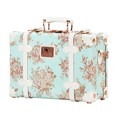 Unitravel Floral Women Suitcase Small Vintage Luggage Cosmetic Train Case with Straps 12 inch