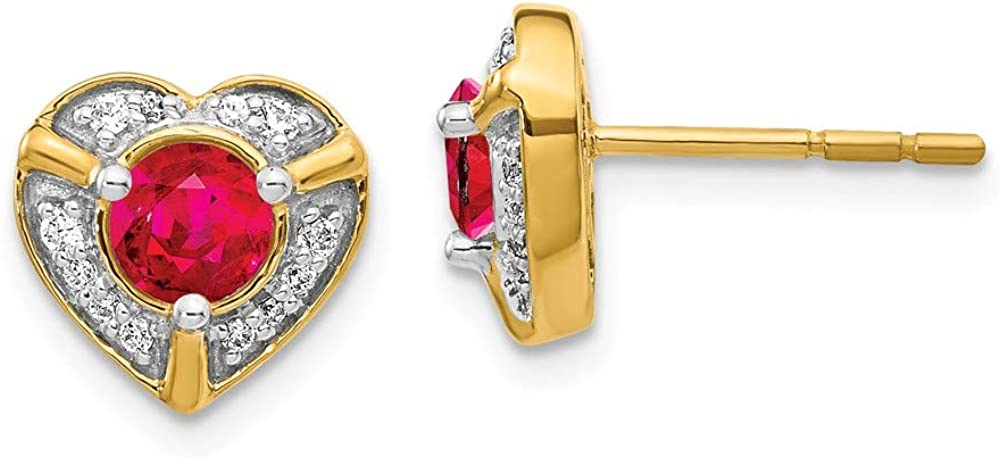 Solid 14k Yellow Gold Diamond and Ruby Unique Heart Studs Post Earrings - 9mm x 10mm (.136 cttw.)