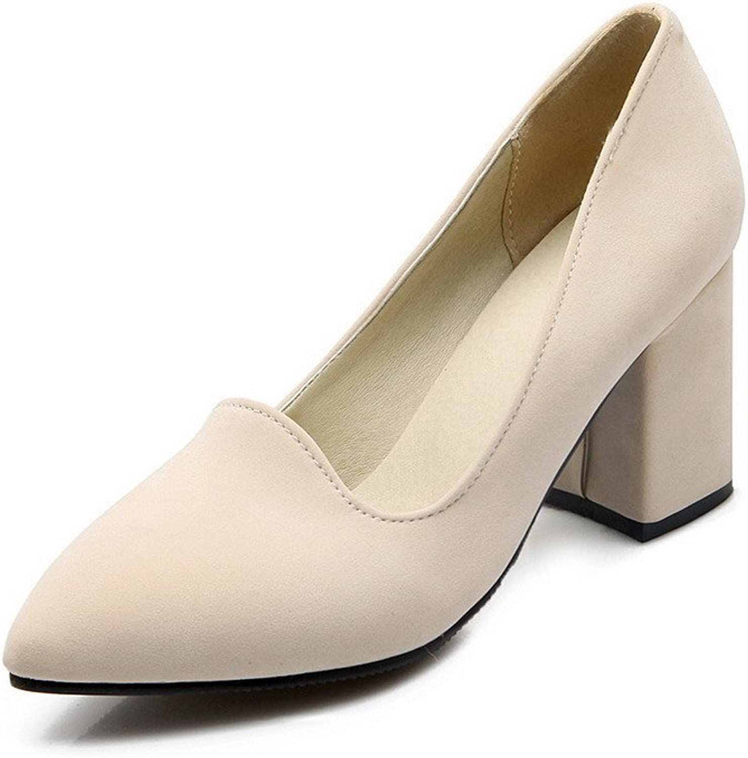 WeenFashion Women's Frosted Pull-on Pointed Closed Toe High-Heels Solid Pumps-shoes