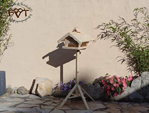 Vogelhaus,groß,mit Nistkasten,BEL-X-VONI5-natur002 Großes wetterfestes PREMIUM Vogelhaus VOGELFUTTERHAUS + Nistkasten 100% KOMBI MIT NISTHILFE für Vögel WETTERFEST, QUALITÄTS-SCHREINERARBEIT-aus 100% Vollholz, Holz Futterhaus für Vögel, MIT FUTTERSCHACHT Futtervorrat, Vogelfutter-Station Farbe natur, MIT TIEFEM WETTERSCHUTZ-DACH für trockenes Futter - 6