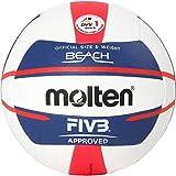 Molten Europe Ball-V5B5000-DE - Pelota de Voleibol de Playa (Talla 5), Color Blanco, Azul y Rojo