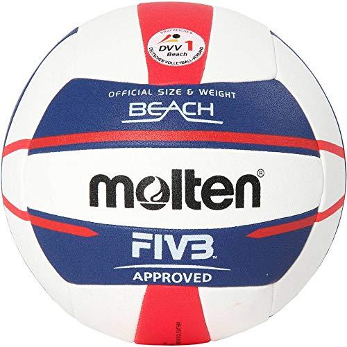 Molten Europe Ball-V5B5000-DE piłka do siatkówki plażowej, biały/niebieski/czerwony, 5