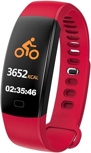 DWGYQ Montre Connectée, Tracker d'Activité Cardiofréquencemètre Podometre Smart Watch Montre Connectée IP67 Etanche Bracelet Sport Podomètre Calorie Bracelet Connecté pour Android iOS Smartphone,rouge