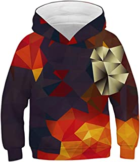Huashao Boys Girls 3D Print Graphic Hoodies Novelty Sweatshirts Teen Long Sleeve Pullover Tops with Pockets for 6-16 Years Old