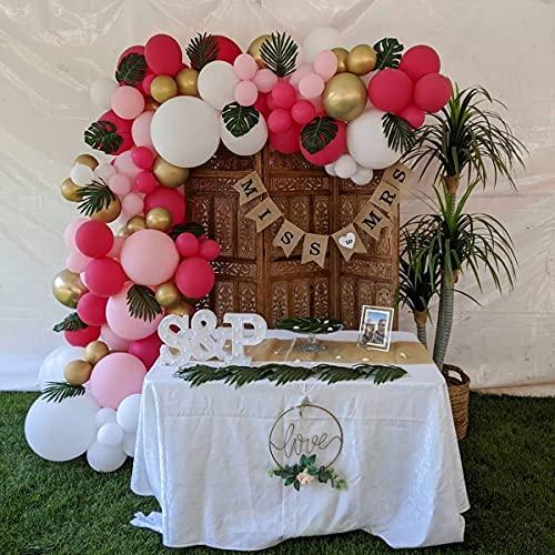 Kit de guirnalda de arco de globos rosados, 128 unidades, globos de látex con hojas de palma, para cumpleaños, baby shower, niñas, fiesta hawaiana, selva, verano, Luau, playa, fiesta, decoración