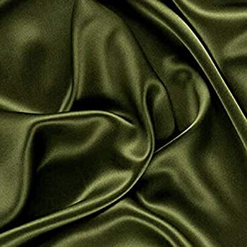 VDS Satin Fabric by The Yard for Wedding Bridal Decoration and Party Supplies Silky Satin 44''inch by The Yard Fabric  5 Yard Olive Green