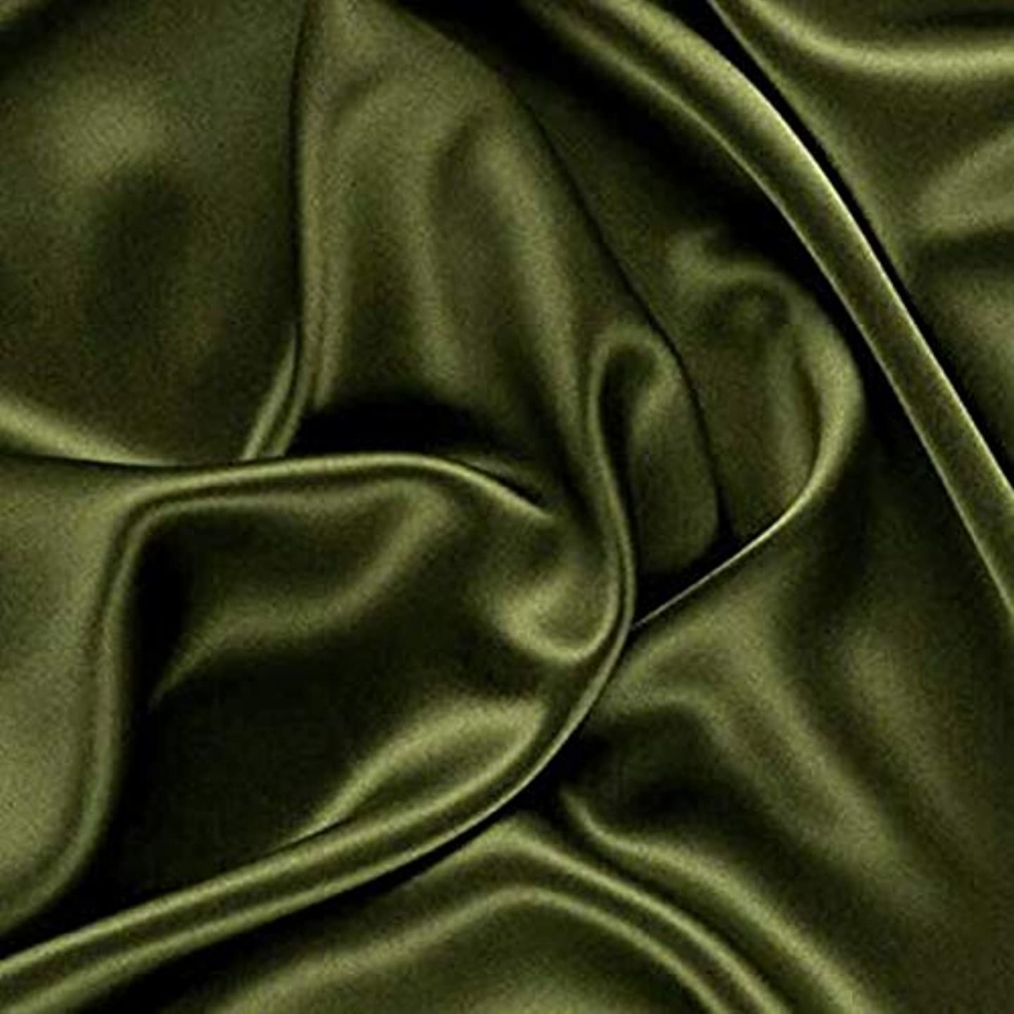 "VDS - 10 Yard Charmeuse Bridal Solid Satin Fabric for Wedding Dress Fashion Crafts Decorations Silky Satin 44"" inches by The Yard – (Olive Green)"
