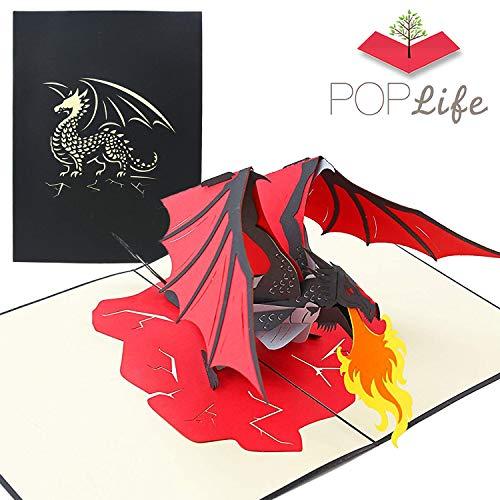 PopLife feuerspuckender Drache 3D Pop Up Karte für Vatertag - Pop Up Geburtstagskarte, Glückwunsch, Gute Besserung, Nur weil - Mythisches Tier, Fantasiekarte, Magisches Geschenk - für Sohn, Vater