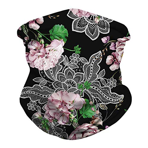 Unisex Black Floral Bandanas Tie Dye Balaclava Sport Casual Headwear Multifunctional Seamless Rave Neck Gaiter Summer Face Cover UV Protection Tube Headwrap Women Men Face Scarf for Dust Wind Hunting