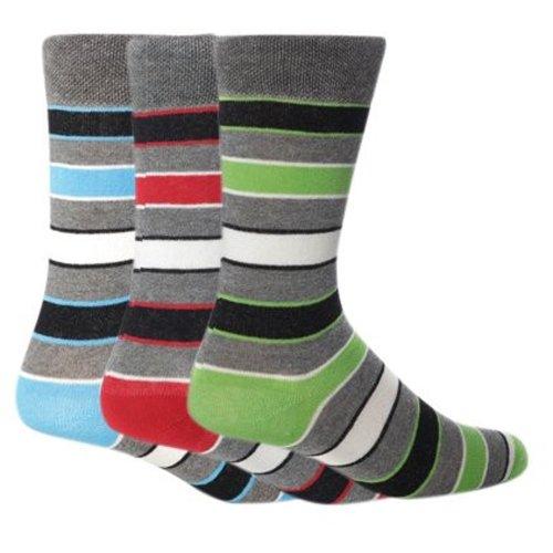Giovanni Cassini London Herren-Socken, gestreift, 6 Paar, Größen 39-45