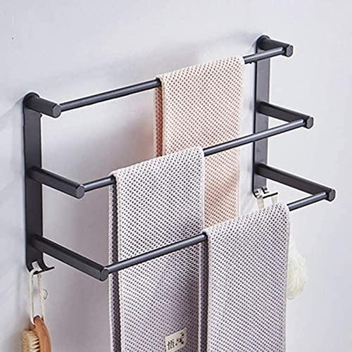 Rack de Toalla de Pared Negro qohg, baño de riel de Toalla Espacio de Toalla de Aluminio de múltiples Capas. Barra de Toalla de Aluminio Alargada.