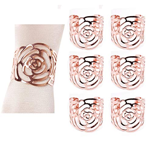 6 Pezzi Portatovaglioli in Oro Rosa, Anelli portatovagliolo in Metallo a Forma di Rosa, Portatovaglioli Anello Tovaglioli da Tavola, Portatovaglioli Portatovaglioli Rose, Decorazione, Matrimonio