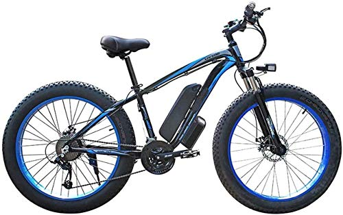 Electric Snow Bike, 500w/1000w Electric Mountain Bike 26'' Folding Professional Bicycle with Removable 48v 13ah Lithium-ion Battery 21 Speed Shifter Beach Snow Tire Bike Fat Tire for Adults Lithium Ba