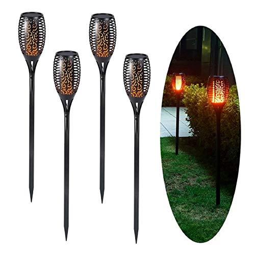 Coriver Luces solares al aire libre, 4 piezas de antorchas de jardín de llama parpadeante, IP65 luces solares impermeables para jardín, lámparas solares, decoración de paisaje para patio,césped,camino