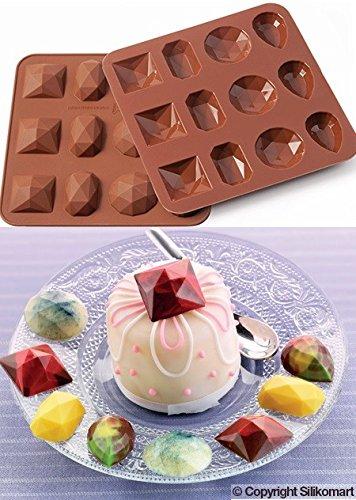 Wonder Cakes by Silikomart 22.505.77.0069 Moule en Silicone, Forme Diamant, Marron, 1,2 x 15,5 x 16,3 cm
