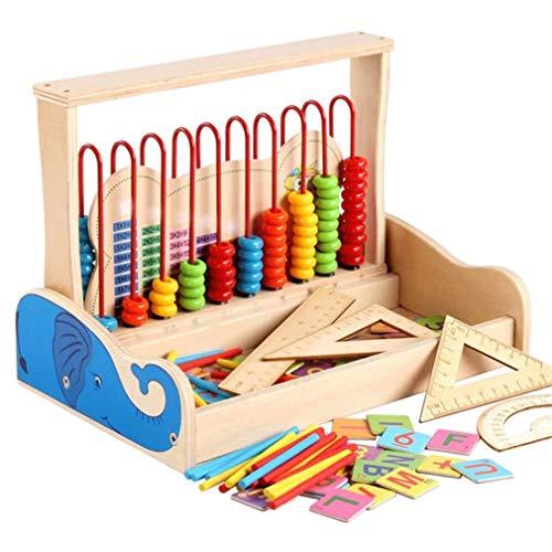 Zeyujie Escuela Primaria Matemáticas ABACUS Enseñanza Ayuda Ayuda y resta Stand de cálculo multifunción, juguetes interactivos para bebés, juguetes de madera clásicos, juguetes de desarrollo, aprendiz
