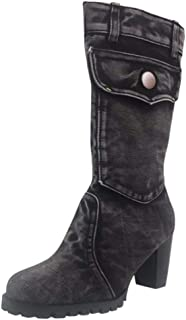 Women's Western Cowboy Boot Respctful✿ Women Fashion Pointed Toe Vintage Knee high Pull on widecalf Cowgirl Boots
