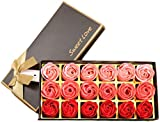 18 Stück Rosenblütenseife - Rosenblumenduft - Pflanzenseife mit ätherischen Ölen, Geschenk zum...