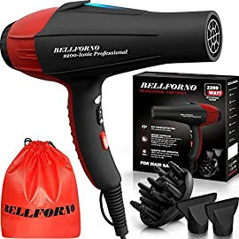 bellforno professional ionic salon - 51bMs8F9p3L - BELLFORNO Professional Ionic Salon Hair Dryer, 2200 Watt Powerful AC Motor Ceramic Tourmaline Ion Blow Dryer, Quiet Hair Dryers with Diffuser & 2 Concentrator Nozzle Attachments Black/Red