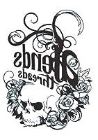 (ファンタジー) THE FANTASY タトゥーシール 髑髏 スカル 白黒 Skull-1【中型・A5】 (hb056)