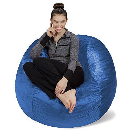 Sofa Sack - Bean Bags Plush, Ultra Soft Memory Bean Bag Chair with Microsuede Cover Stuffed Foam Filled Furniture and Accessories for Dorm Room, 4-Feet, Royal Blue