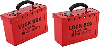 KESOTO 2 Pcs Safety Group Lockout Tagout Box, Portable, Hold up to 12 Padlock, Sturdy Metal, Red