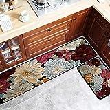 JxLinAAHH Teppich, Blumen-Design, abstrakte Kunst, rutschfest, Plüsch, Bedruckt, Fußmatte, Badezimmermatte, Schlafzimmer, geometrischer Teppich, C, 50x160cm