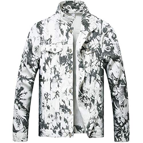 LZLER Jean Jacket for Men,Ripped Denim Jacket for Men with Holes(White-Black, Small)