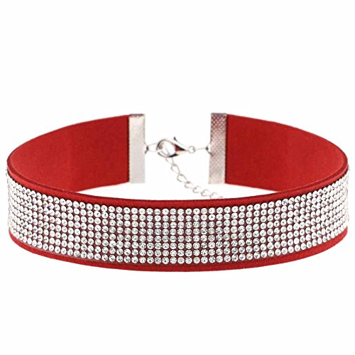 Unbekannt Strass Kunstleder Halsband Hals Kette Modeschmuck Collier Frauen (Rot) -