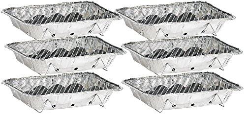 infactory Einweggrill: Handliche Einweg-Grills mit Kohle und Anzünder, 6er-Set (Kleiner Grill)