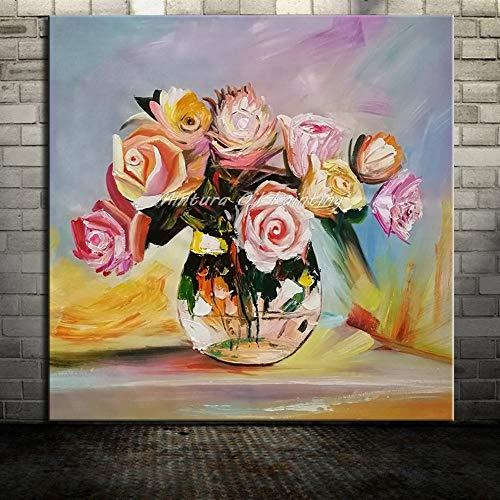 Peintuur À L'Huile Peinte À La Main Sur Toile, Peinture D'Art Moderne de Grande Taille, Abstract Botanical Flower, Belle Rose Jaune Dans Un Vaas, Accueil Décor De Mur Pour Office Restaurant Sa 100×100cm