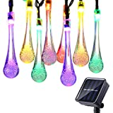 Icicle Solar String Lights, 15.7ft 8 Light Modes 20 LED Water Drop Fairy String Lighting for Indoor/Outdoor Home, Patio, Lawn, Garden, Party Decorations (Multi-Color)