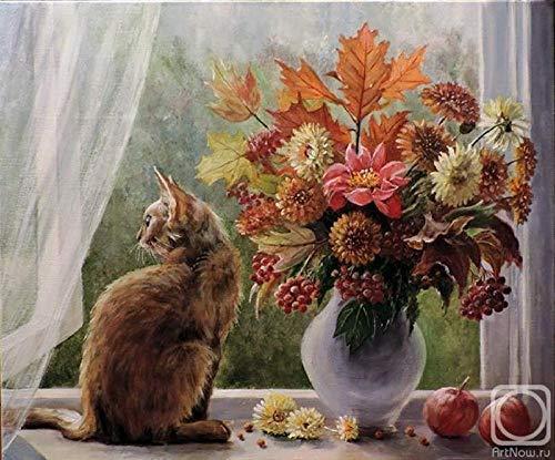 Pintura por Números Gato Floral DIY Pintura por Números para Adultos DIY Pintura Al Óleo Kit con Pinceles y Pinturas para Niños Seniors Junior 16x20 Inch (Sin Marco)