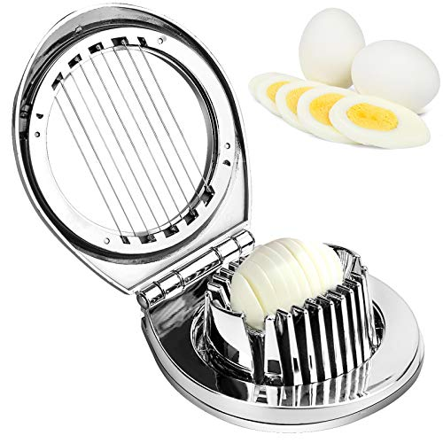 Eierschneider Edelstahl Eierschneider Eierteiler mit 2-in-1 Slicer Splitter Eischneidewerkzeug für Schneiden von Eiern (Spülmaschinenfest)
