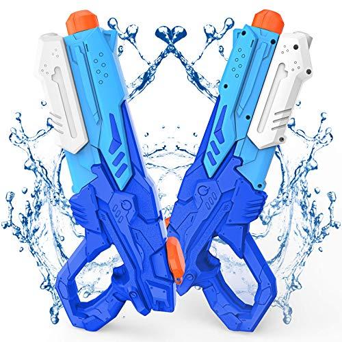 Wasserpistole Spielzeug für Kinder und Erwachsene 2 Stücks 600 ML Wasserpistolen mit 8-10 m ReichweiteSchießt mit großer Reichweite für den Strand Urlaub Pool Partys und Aktivitäten im Freien