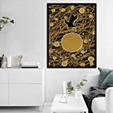 Danjiao Lienzo De Moda Impresión De Arte A4 Pintura Sunset Crane Flying Poster Nordic Wall Golden Lines Round Dot Pictures Kids Room Home Decor Sala De Estar Decor 60x90cm